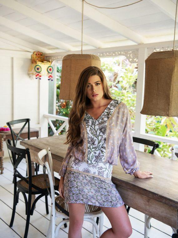 Cobalt & Tawny_ Peony dress multi print