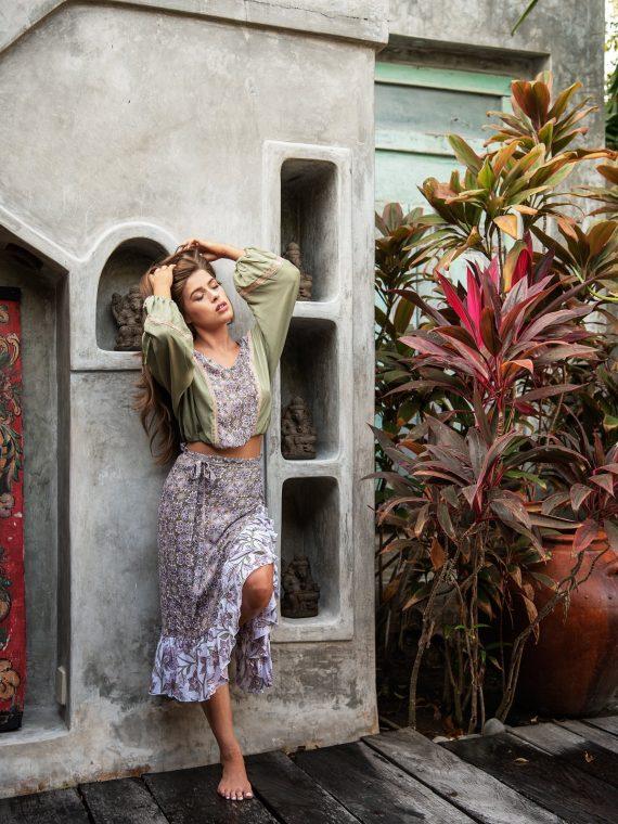 Cobalt & Tawny_ Peony top sage paraiso rosa Iris skirt Paraiso rosa