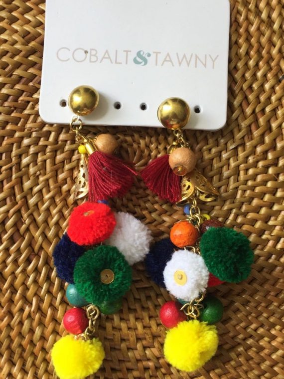 GNK1405403 Cobalt and Tawny Pom Pom Earrings Multi Color style