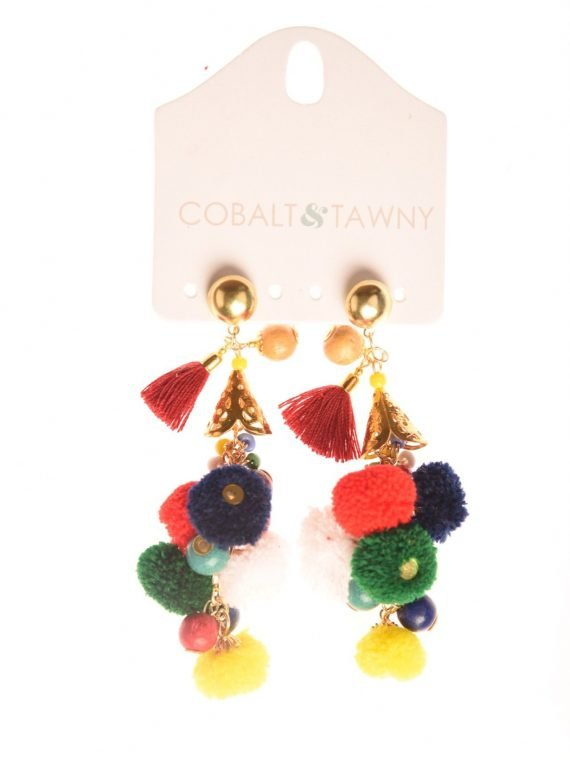 GNK1405403 Earring Pom Pom Multi Color product shoot